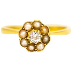 Vintage 18 Carat Gold Diamond and Pearl Cluster