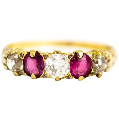 Vintage 18 Carat Gold Diamond and Ruby Five-Stone Ring
