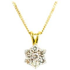 Vintage 18 Carat Gold Diamond Cluster Pendant Necklace