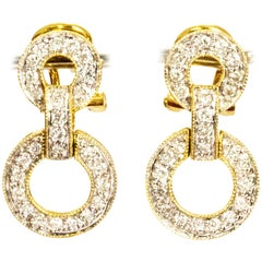 Vintage 18 Carat Gold Diamond Double Circle Earrings