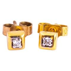 Vintage 18 Carat Gold Diamond Stud Earrings