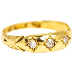 Vintage 18 Carat Gold Diamond Three-Stone Gypsy Ring