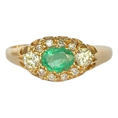 Vintage 18 Carat Gold Emerald and Diamond Cluster Ring