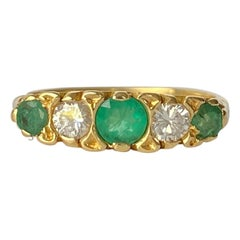 Vintage 18 Carat Gold Emerald and Diamond Five-Stone Ring
