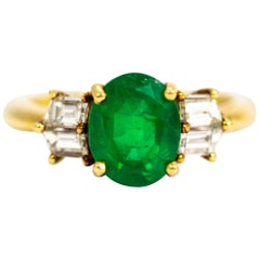 Vintage 18 Carat Gold Emerald and Diamond Ring