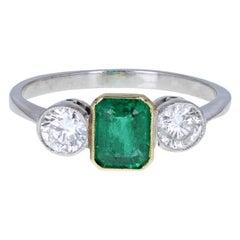 Vintage 18 Carat Gold Emerald Diamond Three-Stone Trilogy Ring