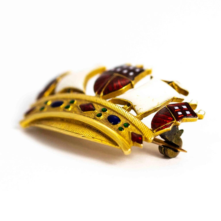 Vintage 18 Carat Gold Enameled Crown Brooch In Excellent Condition For Sale In Chipping Campden, GB