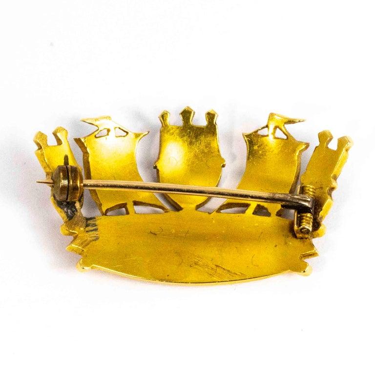 Vintage 18 Carat Gold Enameled Crown Brooch For Sale 1