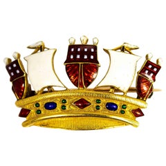 Vintage 18 Carat Gold Enameled Crown Brooch