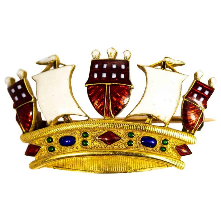 Vintage 18 Carat Gold Enameled Crown Brooch For Sale