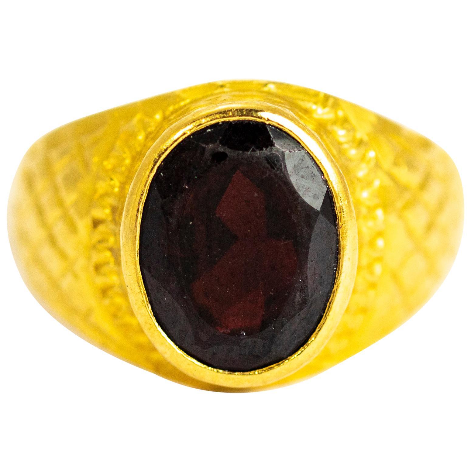 Vintage 18 Carat Gold Garnet Signet Ring