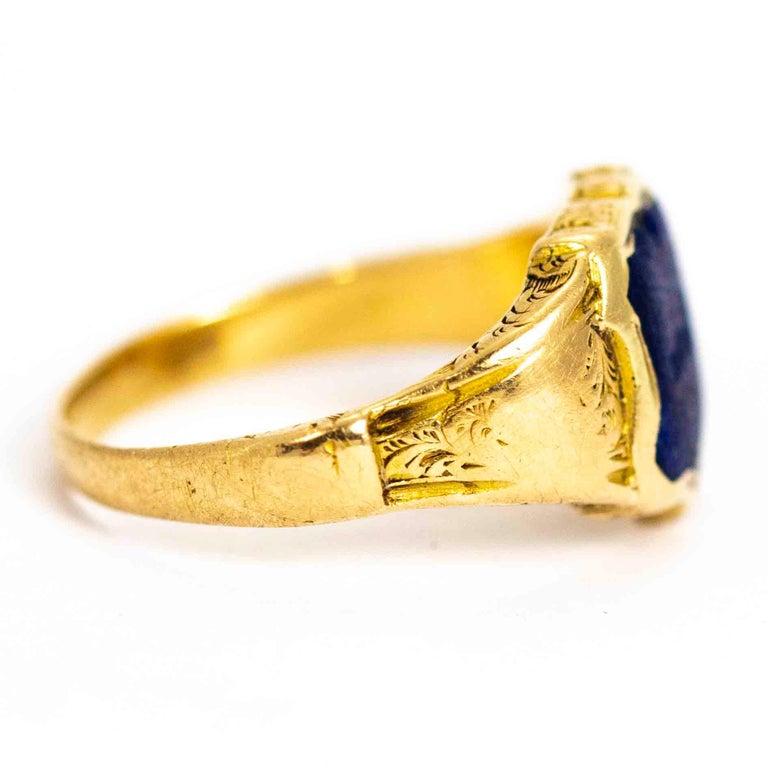 Vintage 18 Carat Gold Lapis Lazuli Shield Signet Ring 1