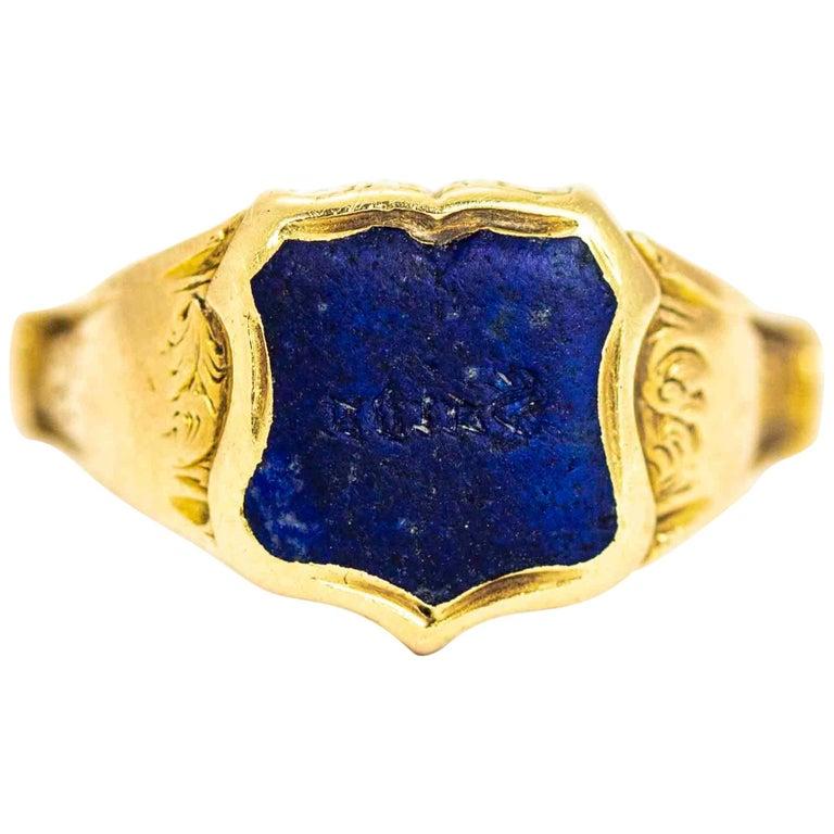 Vintage 18 Carat Gold Lapis Lazuli Shield Signet Ring