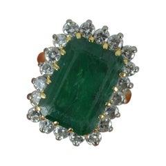 Vintage 18 Carat Gold Large Emerald and 1.20 Carat Diamond Cluster Ring