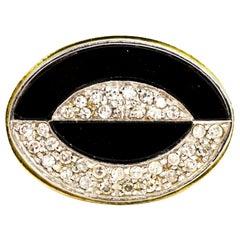 Vintage 18 Carat Gold Onyx and Diamond Ring