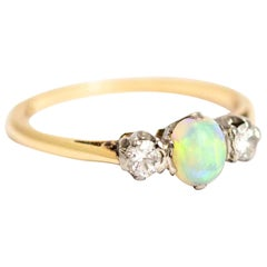 Vintage 18 Carat Gold and Platinum Opal and Diamond Three-Stone Ring