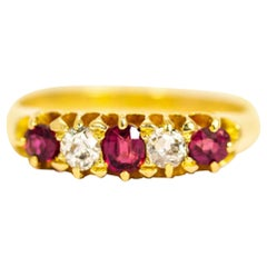 Vintage 18 Carat Gold Ruby and Diamond Five-Stone Ring