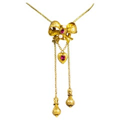 Vintage 18 Carat Gold Ruby and Pearl Slider Pendant Necklace
