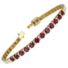 Vintage 18 Carat Gold Ruby Diamond Bracelet