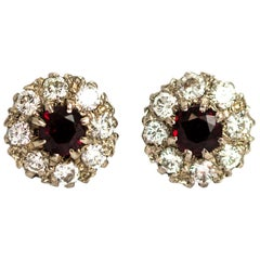 Vintage 18 Carat Gold Ruby and Diamond Cluster Earrings