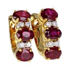 Vintage 18 Carat Gold Ruby Diamond Earrings