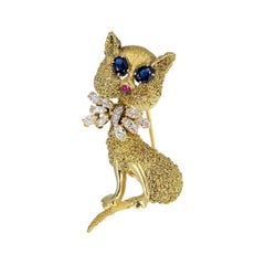 Vintage 18 Carat Gold Sapphire Ruby Diamond Cat Brooch