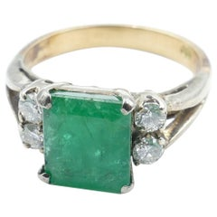 Vintage 18 Carat Rose and White Gold Emerald and Diamond Dress Ring