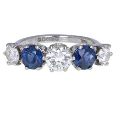 Vintage 18 Carat White Gold Blue Sapphire Diamond Five-Stone Ring