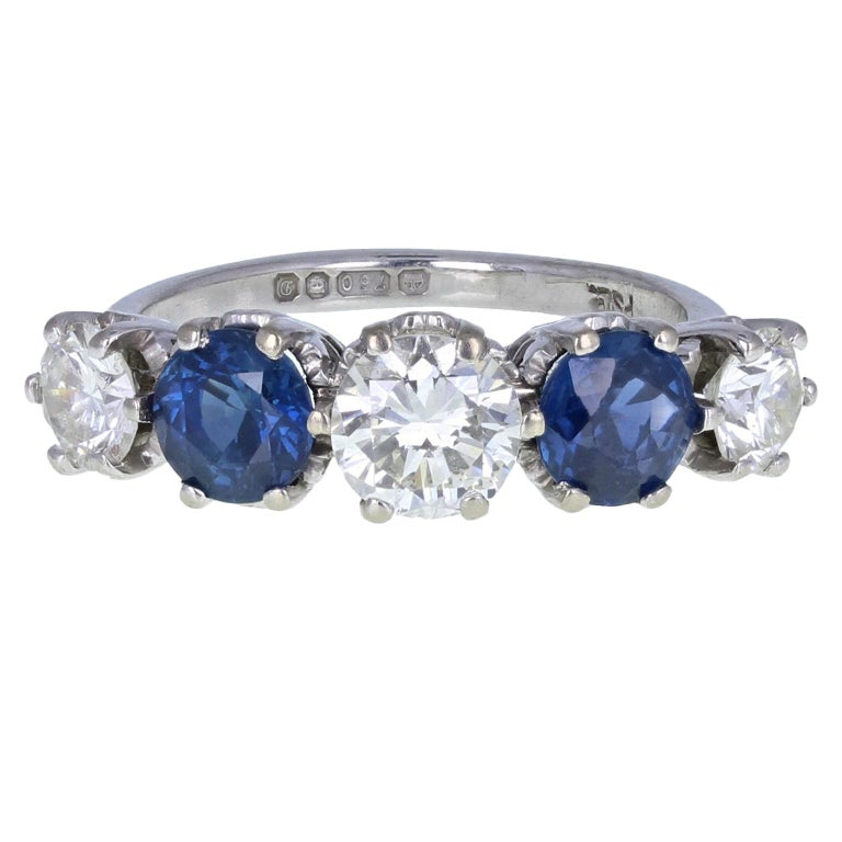 Vintage 18 Carat White Gold Blue Sapphire Diamond Five-Stone Ring For Sale