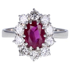 Vintage 18 Carat White Gold Burma Ruby Diamond Cluster Ring