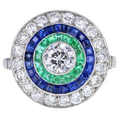 Vintage 18 Carat White Gold Diamond Emerald Sapphire Target Cluster Ring