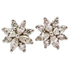 Vintage 18 Carat White Gold Diamond Flower Studs