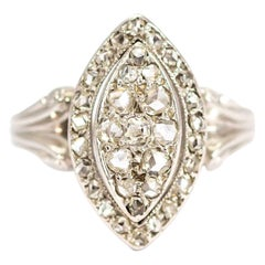 Vintage 18 Carat White Gold Diamond Marquise Ring