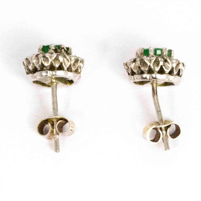 Women's or Men's Vintage 18 Carat White Gold Emerald and Diamond Cluster Earrings For Sale