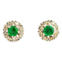 Vintage 18 Carat White Gold Emerald and Diamond Cluster Earrings