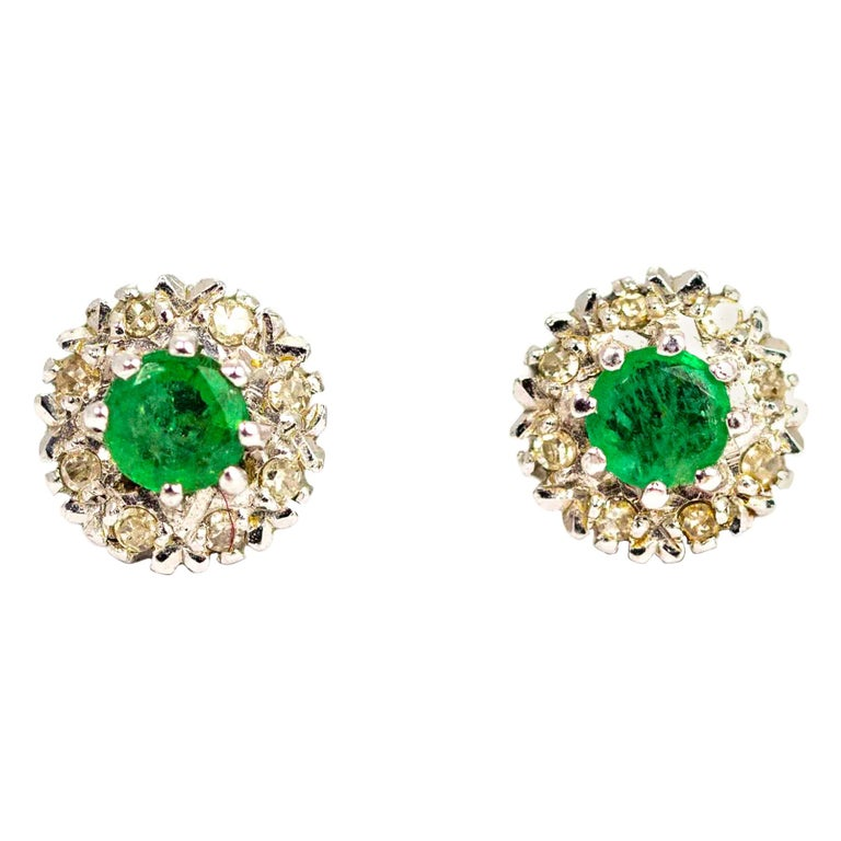 Vintage 18 Carat White Gold Emerald and Diamond Cluster Earrings For Sale