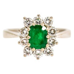 Vintage 18 Carat White Gold Emerald and Diamond Cluster Ring