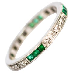 Vintage 18 Carat White Gold Emerald and Diamond Full Eternity Band