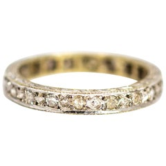 Vintage 18 Carat White Gold Full Diamond Eternity Band