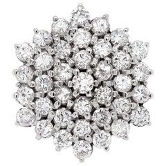 Vintage 18 Carat White Gold Hexagon Diamond Cluster Cocktail Ring