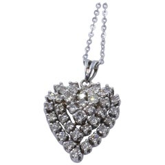 Vintage 18 Carat White Gold Multi Diamond Heart Pendant on 18 Carat Chain