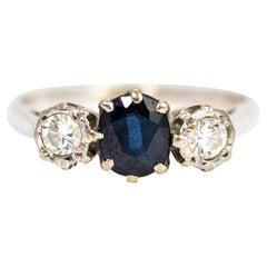 Vintage 18 Carat White Gold Sapphire and Diamond Three-Stone Ring