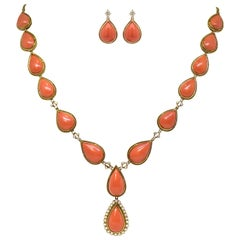 Vintage 18 Carat Yellow Gold Coral and Diamond Necklace and Earring Set