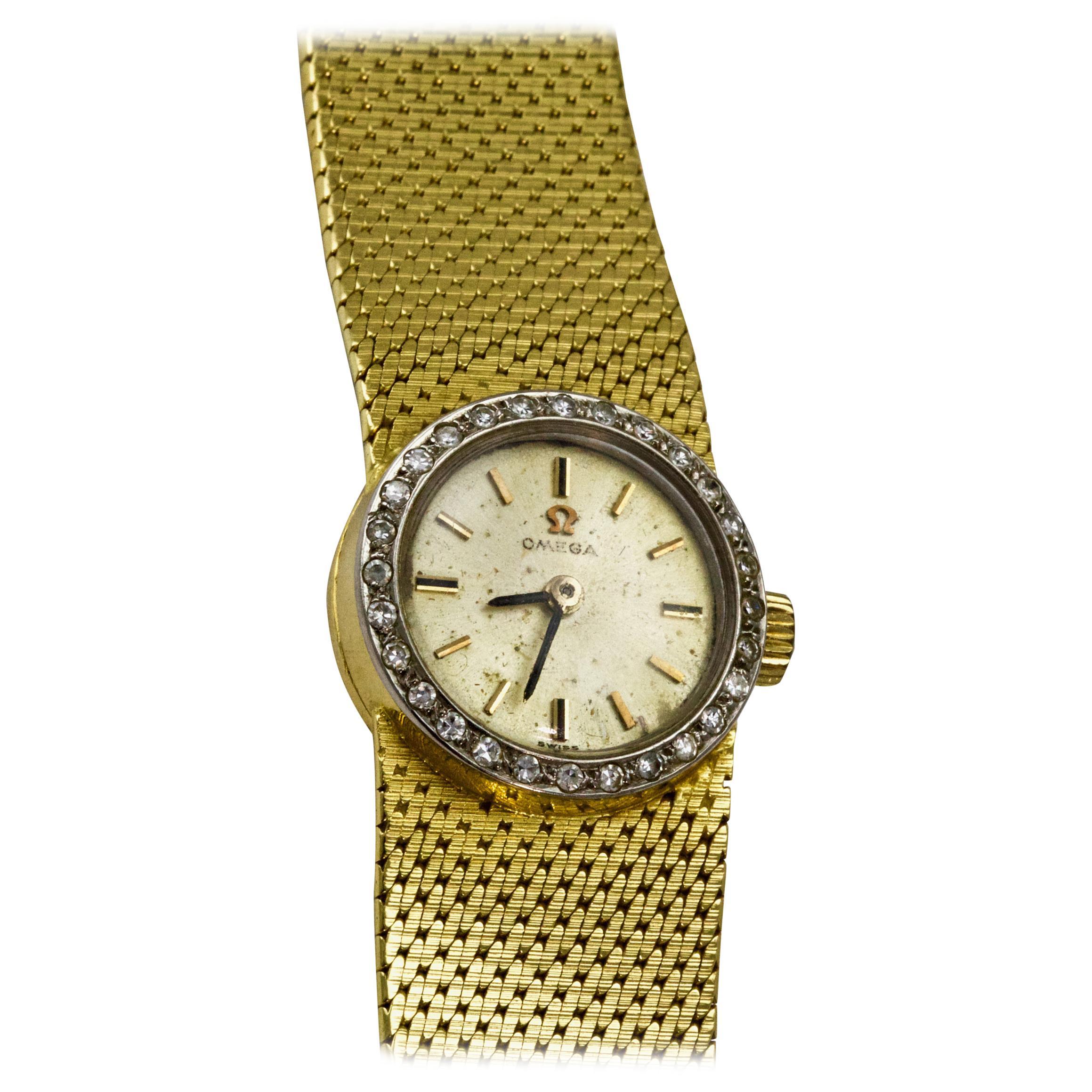 Vintage 18 Carat Yellow Gold Diamond Omega Ladies Wristwatch