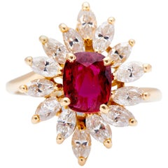 Vintage, 18 Carat Yellow Gold, Natural Certified Ruby and Diamond Cluster Ring