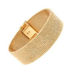 Vintage 18 Carat Yellow Gold Wide Bracelet, circa 1960s