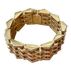 Vintage 18 K Rose Gold Tank Style High Polish Gold Link Bracelet
