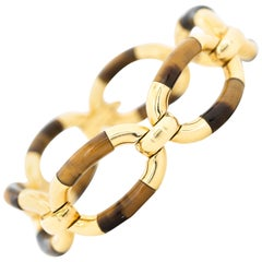 Vintage 18 Karat and Tigers Eye Link Bracelet
