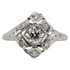 Vintage 18 Karat Art Deco Carat Diamond Ring, circa 1920s