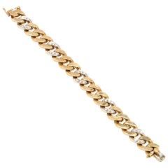 Vintage 18 Karat Bi-Color Gold Diamond Curb Link Bracelet